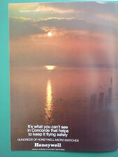 4/1969 PUB HONEYWELL AIRCRAFT SWITCHING CONCORDE MICRO SWITCHES ORIGINAL AD
