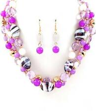 THREE STRAND MULTI PURPLE GLASS & LUCITE BEAD NECKLACE EARRING SET