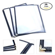 "(10 Pack) Menu Covers 8.5 x 11"" 2 page Double Fold, 4 Vews -Black Trimming New"