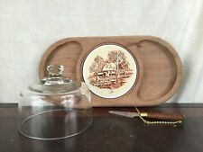 Vintage Himark wood cheese serving tray with glass dome ceramic tile knife Japan