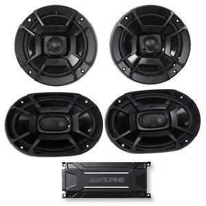 """ALPINE KTA-30FW 600 Watt 4-Channel Amplifier Amp+Polk Audio 6.5""""+6x9"""" Speakers"""