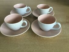 Poole Twintone Pottery - Peach Bloom & Seagull C97 - 4 X Espresso Cups & Saucers