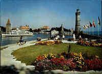 Schiff Ship Schiffe im Hafen von Lindau Bodensee color Ansichtskarte ~1980/90