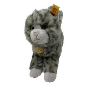 """Steiff Plush Mizzy Cat Grey Striped Kitty Cozy Friends Stuffed Toy with Tags 10"""""""