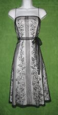 Adrianna Papell White Black Embroidered Mesh Fit Flare Social Dress 6P $199