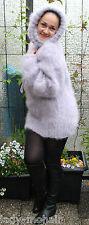 *Langhaar Mohair fuzzy Sweater Pullover T-neck Rollkragen handgestrickt flieder