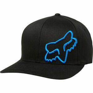 Fox Racing Flex 45 -BLACK/BLUE- Flexfit Hat -SMALL/MEDIUM- Adult Mens Cap Hat