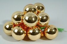 20mm Gold Glass Christmas Baubles on Shiny Wire - Small Xmas Tree Decorations