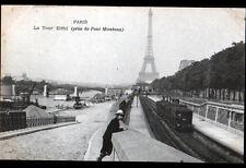 PARIS / TOUR EIFFEL / PASSAGE du TRAIN-METRO N°5007 au PONT MIRABEAU début 1900
