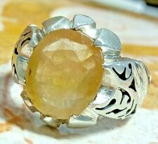 handmade 925 Sterling Silver natural unheated yellow sapphire man ring زفير