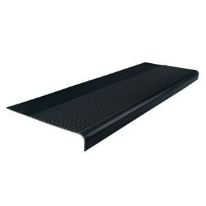 Rectangle Rubber Nose Stair Treads Cover Protector Non Slip Black 12-1/4 x 36 in