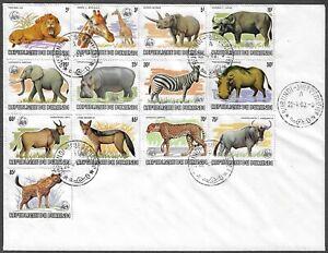 Burundi 589a-601a FDC. Wild Animals 1983 overprinted WWF emblem.