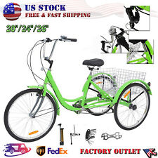 "Tricycle 20""24""26"" 3-Wheel 7Speed Bicycle Trike Cruiser w/Tools&Basket Shopping"