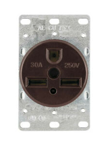 (Lot of 7) Cooper 1264-BOX 2-Pole, 3-Wire Grounding Flush Receptacle, 30A-250V