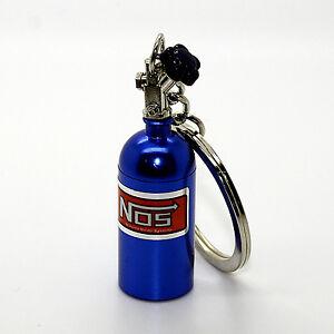 Nitro Keychain NOS Gas Bottles Pendant Gold - Key Nitrous Oxide Chrome