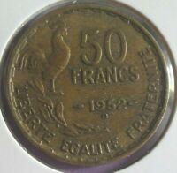 50 Francs G Guiraud 1952 B : TB : pièce de monnaie Française N42