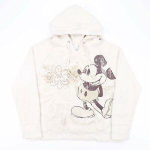 Vintage DISNEY Mickey Mouse Cream Cartoon Round Neck Hoodie Womens 2XL