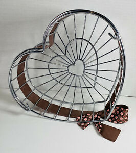 "Wire Heart ❤️ Shaped Basket with Handle 10"" L x 9"" T x 3-1/2"" D"
