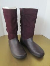 Women's Hotter Mistery Dark Purple Leather Boots Size 11 Made in England