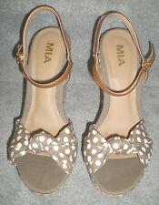 "MIA Spring Natural/White Polka Dot Canvas  5.5"" Wedge Sandals Women's 8.5M MINT"