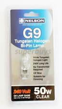 Nelson Lamps 1 x 50W G9 Clear Tungsten Halogen Bi-Pin Light 240V Long Life Dim