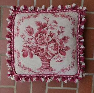 """16"""" X 16"""" Wool Needlepoint Pink & Cream Floral Pillow W/Tassel Edge Velvet Back"""
