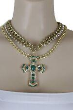 Women Gold Metal Chain Fashion Jewelry Necklace Set Bling Green Cross Pendant