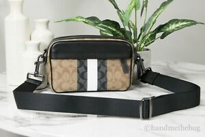 Coach 5573 Graham Signature Canvas Tan Multi Varsity Stripe Crossbody Clutch Bag