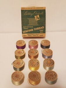 12 BELDING CORTICELLI PURE SILK Sewing THREAD Wood Spools & Buttonhole Twist Box