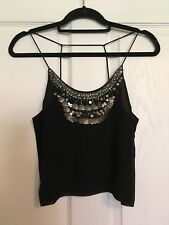 Classy, Glamorous Very Beautifully Decorated Size 10 Black Strappy Top