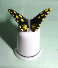 Klima Porcelain Butterfly Thimble Black with Yellow Spots K409