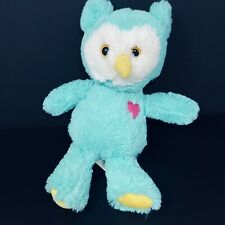 "Hug Fun Teal White Owl Pink Heart Blue Green Plush Stuffed Animal 11"" Lovey"