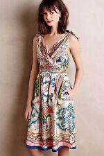 New Anthropologie Collette Dinnigan Tied Acionna Silk Dress 00P XS