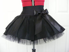 NEW HANDMADE GIRLS ALL BLACK TUTU MINI SKIRT IRISH DANCE SCHOOL 12 - 14 YRS