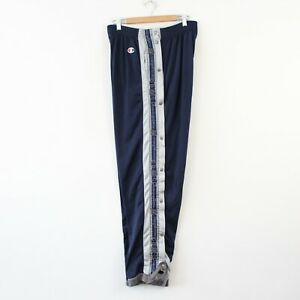A93 Vtg Champion 90s Blue Track Bottoms Trousers Popper Basketball Tape Logo XXL