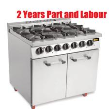Buffalo Commercial Gas 6 Burner Oven Range with Castors 940Hx900Wx730Dmm