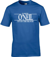 O'Neil Surname Mens T-Shirt 100% Gift Name Family Cool Fun