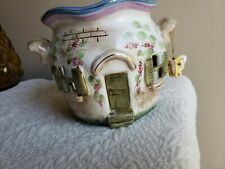Home Interior Ceramic Cottage Fairy House Candle Holder Butterfly Gold Trim