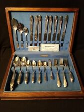 VTG WM Rogers & Son Silver Plate Flatware Gardenia Silver-plate 57pc Set w/Chest