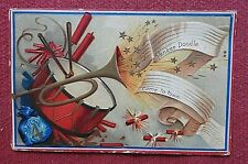 """c1908 4th of July """"Yankee Doodle Came to Town"""" Patriotic Embossed Postcard"""