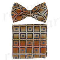 New formal Men's Pre-tied Bow Tie & hankie set plaids & checkers orange