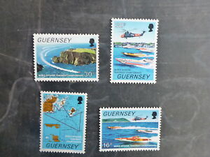 GUERNSEY 1988 WORLD POWER BOAT C/SHIPS SET 4 MINT STAMPS