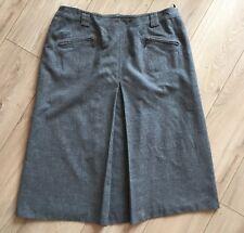 BASLER Grey 100% Virgin Wool A-line Pleated Midi Skirt Size 18 Work Career
