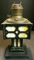 """Antique Mission Cast Iron & Slag Glass Parlor Oil Lamp Base 13.25"""" x 6.25"""" Excel"""