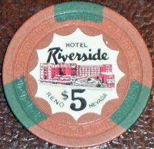 New listing Old $5 Riverside Hotel Casino Poker Chip Vintage Antique Small Key Reno Nv 1954