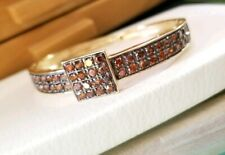 Ross Simons orange brown sapphire yellow  gold/Sterling silver Bangle Bracelet