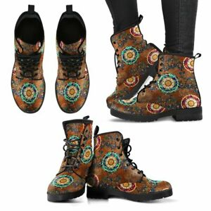 Paisley Crafted Mandala Womens Booties Vegan-Friendly Leather Woman Boots