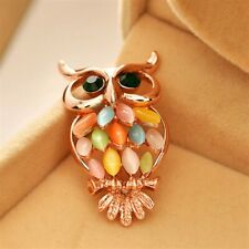 Rose Gold Plated Colourful Imitation Opal Owl Shape Pin Brooch