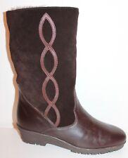 70er 70s Vintage LEDER WINTER STIEFEL warm gefüttert LAMMFELL Leather BOOTS 38
