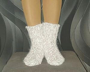 Hand Knitted Acrylic and Alpaca Wool Beige and White Socks Womens